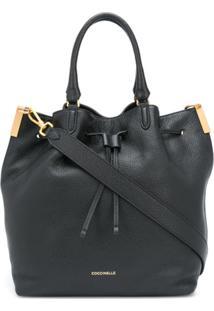 Coccinelle Drawstring Leather Tote Bag - Preto