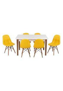 Conjunto Mesa De Jantar Luiza 135Cm Branca Com 6 Cadeiras Botonê - Amarelo