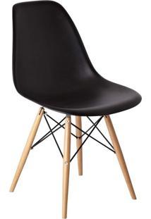 Cadeira Com Encosto E Pés Em Madeira Flórida Siena Móveis Preto