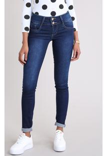 Calça Jeans Feminina Super Skinny Sawary Azul Escuro