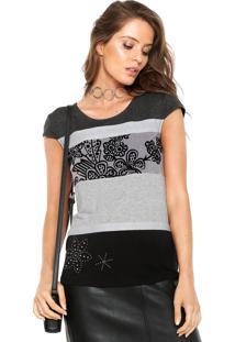 Camiseta Desigual Shannen Cinza/Preta