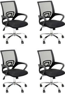 Conjunto Com 4 Cadeiras De Escritório Secretária Java Preto
