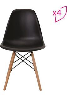 Conjunto De Cadeiras Eiffel Sem Braço- Preto- 4Pçsrivatti