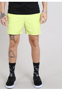 Short Masculino Com Bolsos Amarelo Neon