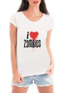 Camiseta Criativa Urbana I Love Zombies - Feminino-Branco