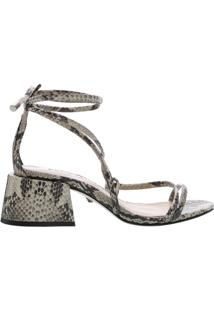 Sandália Chunky Heel Lace-Up Python   Schutz