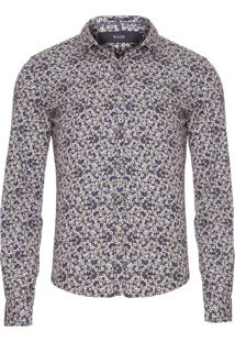 Camisa Masculina Blossom Floral Slim - Azul