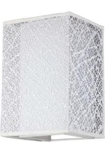 Arandela Lace Cupula Quadrada Tecido Branco 1E27 20Cm Bronzearte