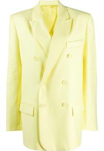 Attico Blazer Oversized Com Abotoamento Duplo - Amarelo