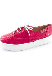 Tênis Flatform Quality Shoes Feminino 005 Verniz Matelassê Rosa Pink 35
