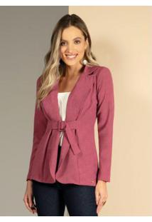 Blazer Com Faixa E Fivela Forrada Pink