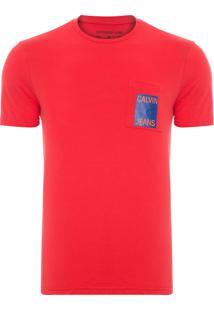 Camiseta Masculina Bolso Com Estampa - Vermelho