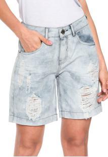 Bermuda Jeans Lunender Boyfriend Destroyed Azul