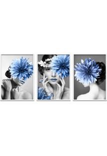Quadro 60X120Cm Helga Mulher Com Flores Azuis Moldura Branca Com Vidro