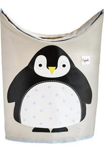 Cesto De Roupa 3 Sprouts Pinguim Cinza/Preto