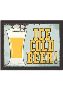 Quadro Decorativo Retrô Ice Cold Beer Preto - Grande