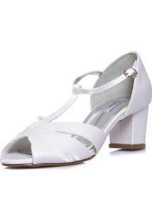Sandália Durval Calçados Noiva Vintage Salto Baixo Confortável - 3489 Branco - Tricae