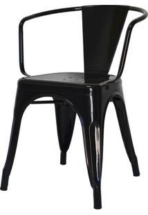 Cadeira Iron Tolix Com Braco Com Pintura Epoxi Preta - 46894 - Sun House