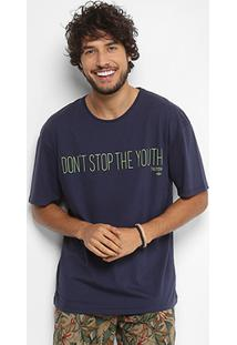 "Camiseta Triton ""Don'T Stop The Youth"" Masculina - Masculino-Azul"