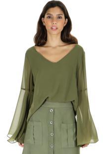 Blusa Decote V Lisa E Manga Flare - Verde/Verde Militar - Feminino - Dafiti