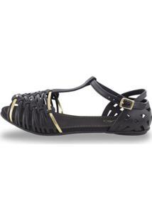 Sandália Sedução Feminina - Feminino-Preto+Dourado
