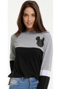 Blusa Feminina Estampa Mickey Manga Longa Disney