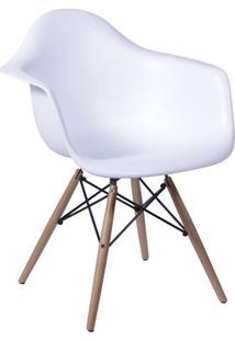 Poltrona Eames- Branca & Marrom Claro- 82X62X44Cm