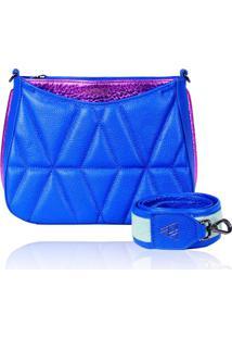 Bolsa Tiracolo De Couro Dayana Azul Royal Matelasse - Kanui