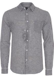 Camisa Masculina Linen Vichy - Preto