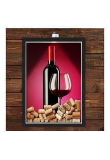 Quadro Caixa Porta Rolha De Vinho 33X43 Cm (Com Led) Lojaria E Nerderia. Vinho Preto