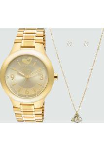 Kit Relógio Feminino Strass Allora Al2035Chk4X