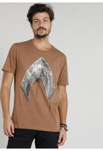 Camiseta Masculina Aquaman Manga Curta Gola Careca Marrom