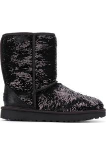 Ugg Ankle Boot Com Paetês - Preto