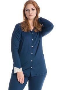 Pijama Opala Abotoado Marine/Xg