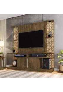 Estante Home York Com Led E Prateleiras De Vidro Tradicional Moderno Móveis Bechara Madeira Rústica/3D