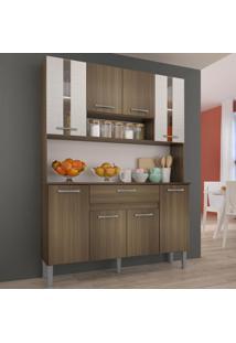 Cozinha Compacta 8 Portas 120 Cm 0281 Anie Castanho/Mel 3D - Genialflex