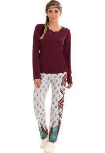 Pijama Toque Intimo Com Decote Laser Bordô