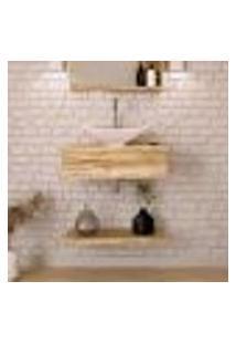 Conjunto Para Banheiro Bancada Com Cuba L38 Folha E Prateleira City 605 Carvalho
