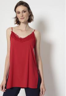 Blusa Com Renda- Vermelha- Linho Finolinho Fino