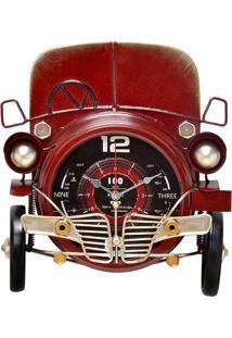 """Relógio De Parede """"Carro""""- Vermelho & Preto- 9,5X18,Mabruk"""