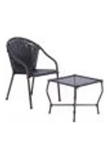 Conjunto Mesa Baixa E Cadeira Para Área Edicula Jardim Biquini Ferro E Fibra Tabaco