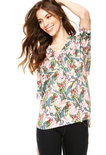 Camisa Holin Stone Floral V Rosa/Verde