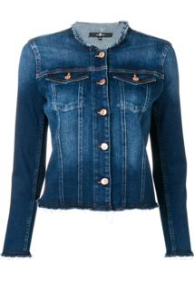 7 For All Mankind Round Neck Jacket - Azul