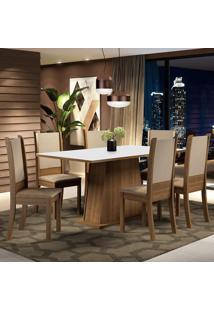 Conjunto Sala De Jantar Madesa Adriana Mesa Tampo De Madeira Com 6 Cadeiras