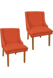 Kit 02 Cadeira Poltrona Decorativa Liz Suede Laranja - D'Rossi