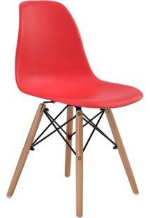 Cadeira Eames Eiffel Rivatti Sem Braço Pp Base Madeira Vermelho