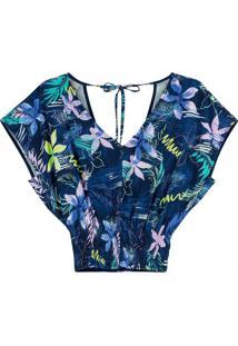 Blusa Azul Ampla Tropical Com Lastex
