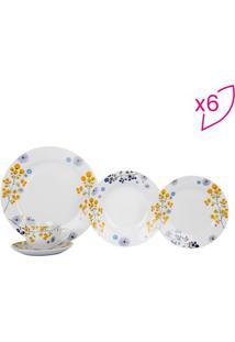 Aparelho De Jantar Guina Em Porcelana- Branco & Amarelo