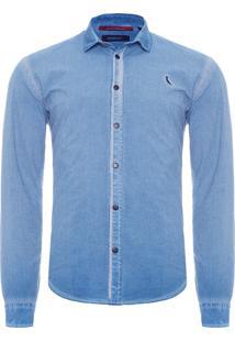 Camisa Masculina Enxuto - Azul