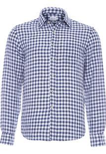 Camisa Masculina Linho Composta - Azul